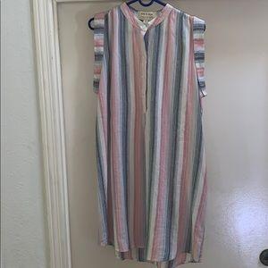 NWOT Cloth & Stone Stripe Fringe Dress Small S